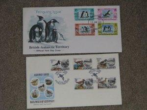 PENGUINS ISSUE BRITISH ANTARCTIC TERRITORY 1979 FDC + ALDERNEY BIRDS FDC