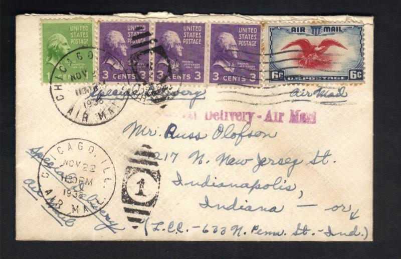 1938-US Postal Cover Air Mail Sc#C23 From Chicago,IL To Indianapolis,In + (3)
