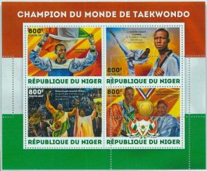 A1411 - NIGER, ERROR, МISPERF Miniature s: 2017 Taekwondo, Abdoul Issoufou, Flag
