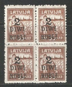 Latvia 1920-21,Surcharged 2R on 35k,Block Scott # 87,VF MNH**