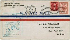 Canal Zone 1929 2c airmail stationery envelope used to the U.S., UC2a, $190