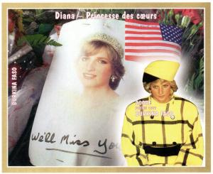 Burkina Faso Diana Princess 1 S/S MNH SC # 1090U Imperforated