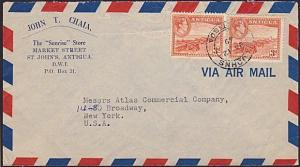 ANTIGUA 1949 6d rate airmail cover to USA...................................6590