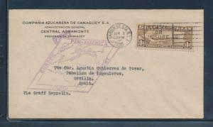 #C14 ON LZ127 ZEPPELIN 1ST FLIGHT PAN-AMERICAN COVER 1930 F-VF CV $575 BU6373