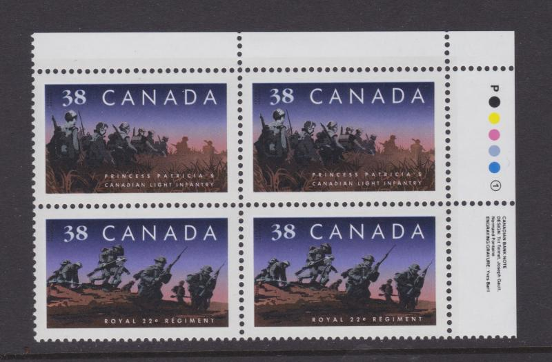 CANADA  #1250a TR PLATE BLOCK MNH STAMPS INFANTRY REGIMENTS LOT#551