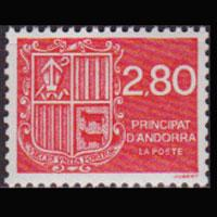 ANDORRA FR. 1990 - Scott# 388 Arms 2.8f NH