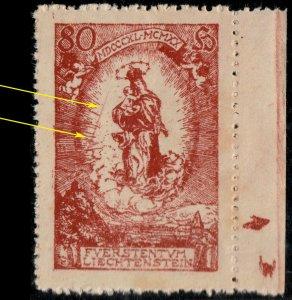 LIECHTENSTEIN - 1920 - Mi.41 with long line at left in white background - Mint**