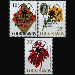 COOK IS. 1971 - Scott# 302-4 Flowers Opt. Set of 3 NH