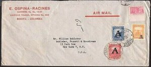 COLOMBIA 1951 airmail cover to USA - stamps with 'A' overprints............33036