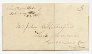 VA US STAMPLESS COVER Chatham Hill Feb 23, 1851 Unlisted in ASCC & VPHS
