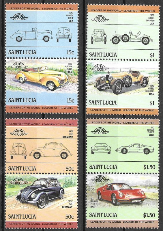 St. Lucia MNH 739-42 Pairs Automobiles 1983