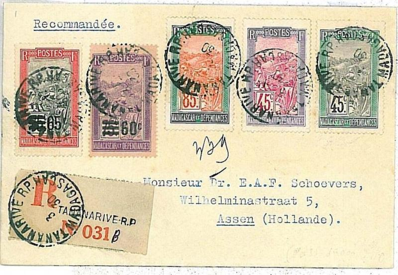 MADAGASCAR : REGISTERED MAIL COVER TO THE NETHERLANDS 1930