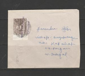 Bangladesh 1972 Cover to W Bengal, with2 Optd Pakistan stamps, Peoples republic