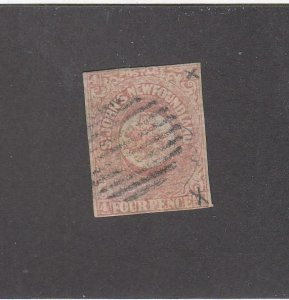NEWFOUNDLAND (MK6776) # 18 F-USED  4p 1861-62 ST JOHN'S IMPERF /ROSE CAT VAL $50