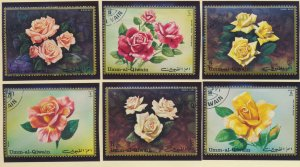 Umm-Al-Qiwain Stamps, Roses, Set of 6, Cancelled to Order (CTO) - Free U.S. S...