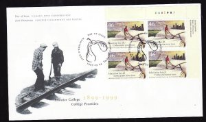 Canada-Sc#1810-UR plate block on FDC-Frontier College-1999-