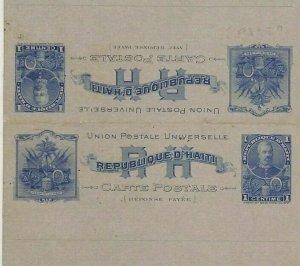 HAITI Unused Postal Stationery Intact Reply Card {samwells-covers} CG261