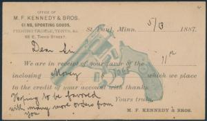 #UX9 USED ON M.F. KENNEDY & BROS. GUNS, SPORTING GOODS MAY 13,1887 BS8073