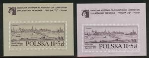 Poland Scott B128, B128a MNH** 1972 semi postal sheets