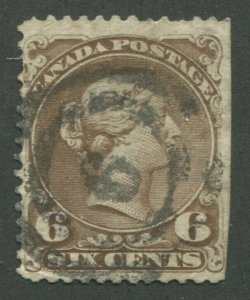 CANADA #27 USED LARGE QUEEN 2-RING NUMERAL CANCEL 6