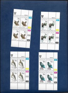 VENDA 1989 BIRDS CYLINDER BLOCKS OF 4