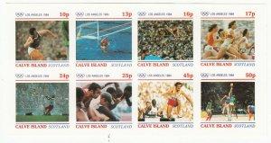 Cinderellas; Calve Island Imperf Minisheet, MNH, Los Angeles Olympics, 1984