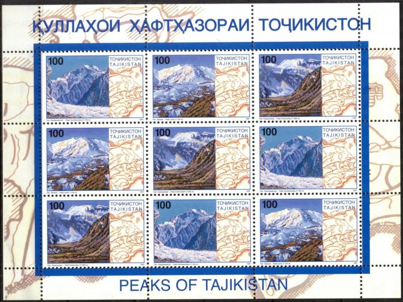 Tajikistan 1997 Mountains over 7000 Meters sheet of 9 MNH**