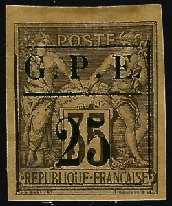 Guadeloupe Scott #2 Overprint Unused VF hr SCV$65...French Colonies are hot!