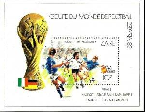 #9082 ZAIRE 1981 FOOTBALL SOCCER WORLD CUP SPAIN 82  YV BL 28 MNH
