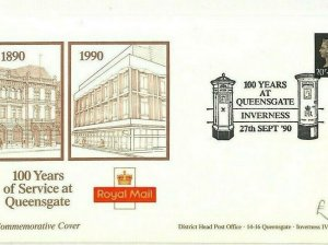 GB POSTAL HISTORY 1990 Queensgate POST OFFICE Inverness 100 Years Cover AO228