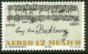 MEXICO C375, 200th Anniversary of the birth of Beethoven. MINT, NH. VF.