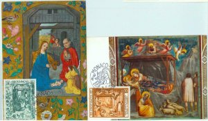 90240 - MONACO - set of 2  MAXIMUM CARD -   ART Religion XMAS Birds 1973