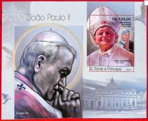 A3186 - SAO TOME & PRINCIPE, ERROR MISSPERF, Souvenir s: 2019, Pope John Paul II