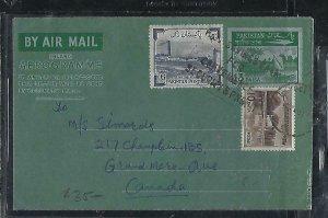 PAKISTAN  (PP0110B) 1963  13PA AEROGRAM+6A+10PA SENT TO CANADA