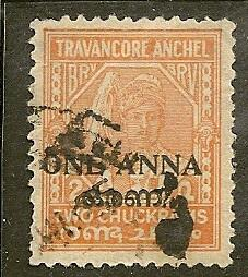India-Travancore Cochin   Scott  4    Surcharge