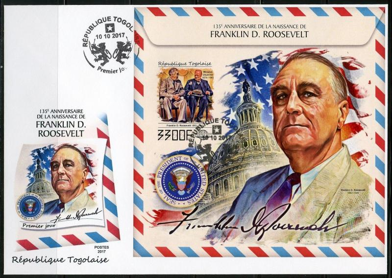 TOGO 2017 135th BIRTH OF FRANKLIN D ROOSEVELT WITH WINSTON CHURCHILL IMPF S/S FD