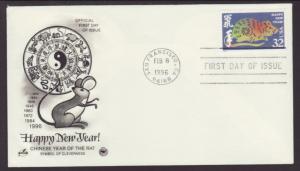 US 3060 Year of the Rat 1996 PCS U/A FDC