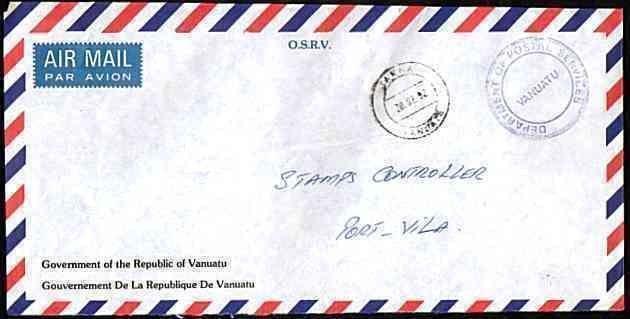 NEW HEBRIDES VANUATU 1992 Official cover TANNA to Port Vila...........33634