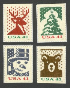 4207-10 Christmas Knits Set Of 4 From Booklet Mint/nh FREE SHIPPING (A-200)
