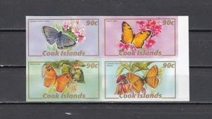 Cook Is., Scott cat. 1286 A-D. Butterflies, IMPERF Block.