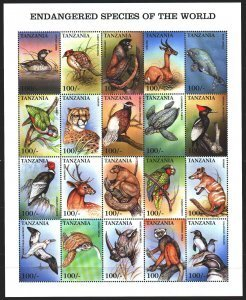 Tanzania 1999 ENDANGERED SPECIES OF THE WORLD Sheet 20v Perforated Mint (NH)