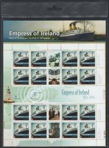 RSM EMPRESS OF IRELAND = SHIP = FULL SHEET = SEALED = Canada 2014 #2745 MNH