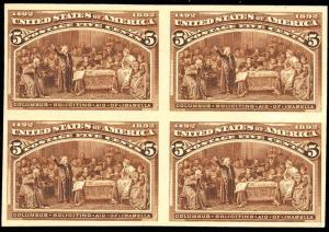 234P4, XF Gem Plate Proof on Card - BLOCK OF 4