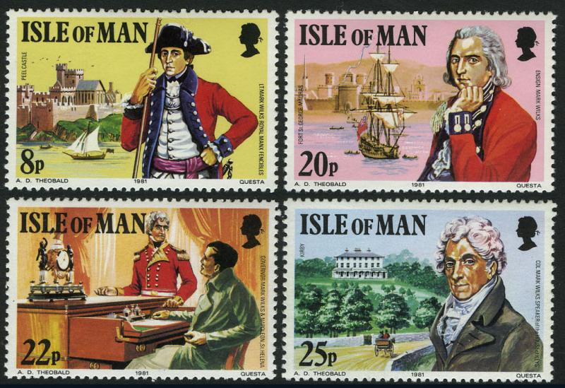 Isle of Man 193-196, MI 189-192, MNH. Col. Mark Wilks Governor of St Helena,1981