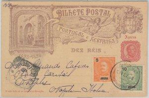 52095 - PORTUGAL: ANGRA - POSTAL HISTORY - POSTAL STATIONERY CARD to ITALY 1903