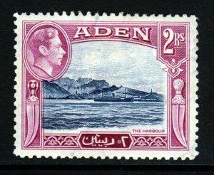 ADEN King George VI 1939 2 Rupees Blue & Magenta SG 25 MINT