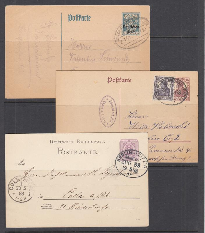 Germany, 3 different Postal Cards, all with BAHNPOST cancels, one uprated