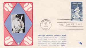 1983 BABE RUTH 20 Cent FDC, LEB with photo image