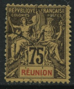 Reunion 1892 75 centimes used