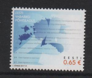Estonia Sc 846 2017 25th Anniversary Constitution stamp mint NH